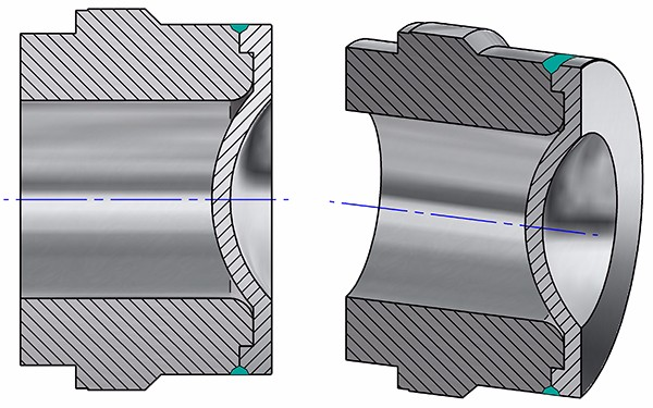 Fig. 2: New REMBE HPRD high pressure rupture disc: weld seam (green) does not influence the burst pressure due to geometrical changes.